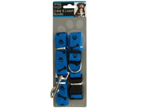 Paw & Bone Print Collar & Leash Bundle Set