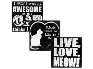 Black & White Wooden Cat Sign