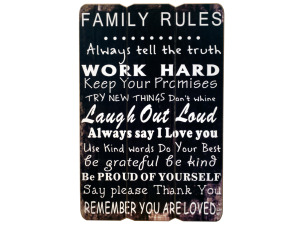 Family Rules Paneled Wood Wall Sign