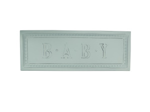 Powder Blue Baby Embossed Metal Sign