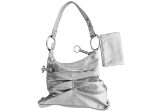 Silver Handbag with Zipper Case