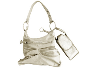 Silver Handbag with Cell Phone Case