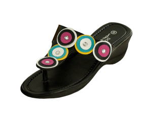 Black Wedge Sandals with Circle & Jewel Accents