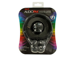 Black Foldable Stereo Headphones & Earbuds Set