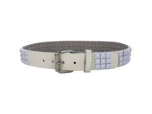 Medium White Pyramid Studded Belt
