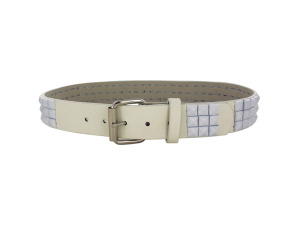 Small White Pyramid Studded Belt