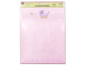 Pink baby stationery with baby carriage, pack of 25 sheets