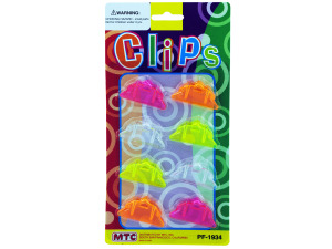 8 pack 1.5 inch clips clear and assorted neon colors