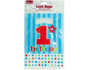 8 pack 1st birthday loot bags 6.5 inch x 9 inch