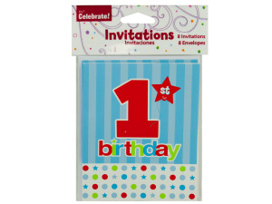 8 pack 1st birthday invitations with envelopes