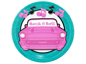 8 pack 50s rock & roll 7 inch round plates