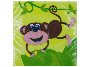 20 pack 9 4/5 x 9 3/4 in. monkeys beverage napkin