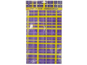54 x 108 inch purple/yellow plaid tablecover