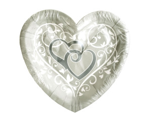 12 pk 7.375 x 7.875 in wedded bliss heart shaped plates