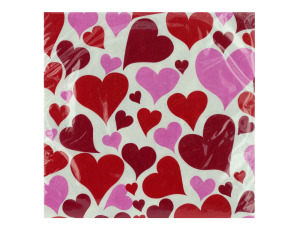 18 pk 9 4/5 x 9 3/4 in. love me hearts beverage napkins