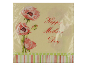Wholesale: 16 pack 12 7/8 x 12 3/4 in. poppy trio mothers day napkins