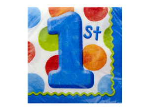 16 pk 9 7/8 x 9 7/8 big 1 dots boy beverage napkins