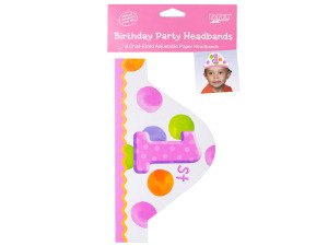 8 pk child sized adjustable paper headbands 1st dots girl