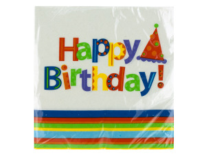 24 pk 12 7/8 x 12 3/4 in. party stripes birthday napkins