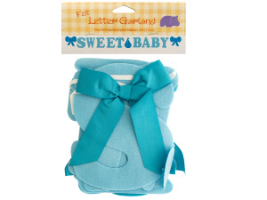Sweet Baby Blue Felt Letter Garland with Ribbon