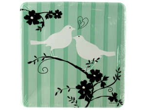 8 pack two love birds plates 6 7/8 inch