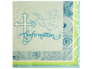 Blue Faithful Dove Confirmation Beverage Napkins