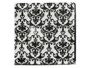Black & White Damask Beverage Napkins