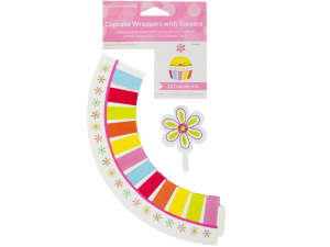 Flower Cheer Cupcake Wraps & Toppers Set