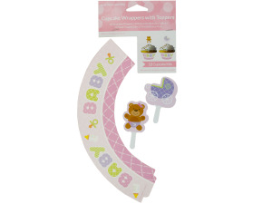 Baby Girl Cupcake Wraps & Toppers Set