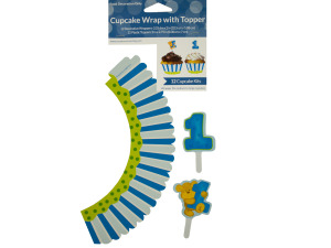 Boy's 1st Birthday Cupcake Wraps & Toppers Set