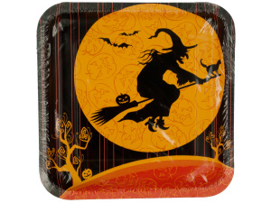 Witches Crossing Square Halloween Plates