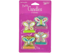 Butterfly Party Candles with Glitter Accents