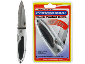 Wholesale: 6 inch black pocket knife (2.5 in. mixed serrated blade)