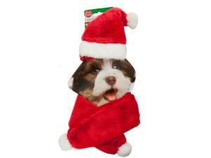 Holiday Pet Santa Hat & Scarf Set