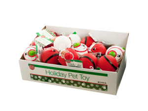 Holiday Dog Squeaky Ball Toy Countertop Display