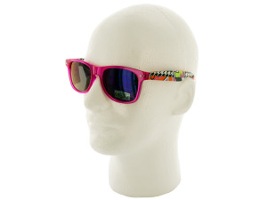 Transparent Pink Sunglasses with Retro Print Arms