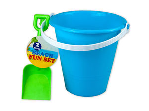 Solid colored beach pail with shovel