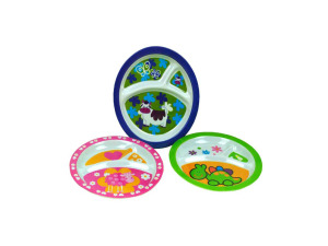 Melamine sectioned plates for kids, assorted designs