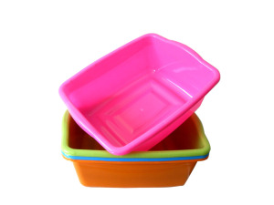 Colorful plastic oblong basins
