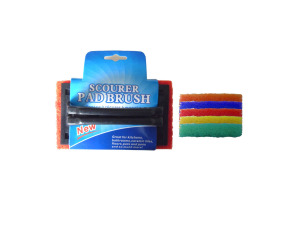 Scour pad brush, assorted bright colors