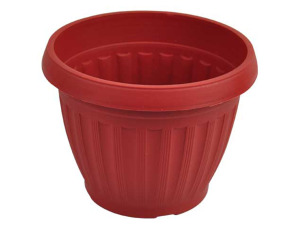 Clay-look round flower pot