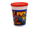 "12 oz ""Kids Just Gotta Have Fun"" plastic cup with lid"