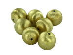 Brushed Goldtone Metal Round Beads