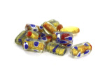 Red, Blue & Gold Foil Glass Bead Mix