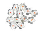 White Flower Foil Glass Bead Mix