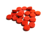 10MM Red Coral Colored Flat Rnd Stone Bd