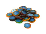 Multi-Colored Ringed Flat Round Glass Beads