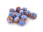 Blue Round Swirly Bump Glass Beads