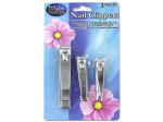 3 pk. chrome plated nail clippers 2/21/2/23/4 l