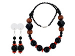 black/light brown beaded necklace and earring set